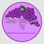 Canning Labels for Grape Jam, Jelly or Preserves Classic Round Sticker