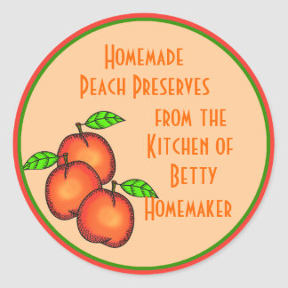 Canning or Jarring Labels with Peaches Classic Round Sticker