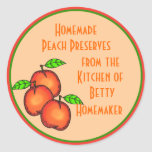 Canning or Jarring Labels with Peaches Round Stickers