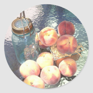 Canning Peaches Classic Round Sticker