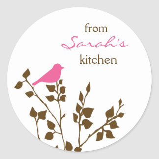 Canning Pink and Brown Bird Stickers