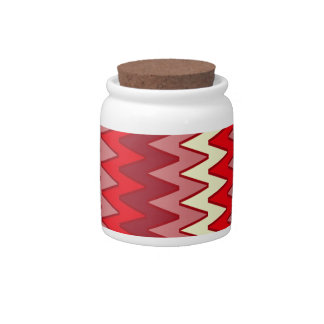 Cannister, ceramic Zigzag pattern Red Pink Candy Dishes