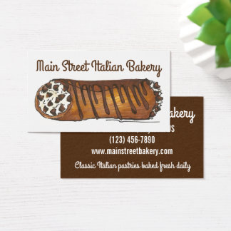 Cannoli Italian Bakery Pastry Shop Baked By Chef Business Card