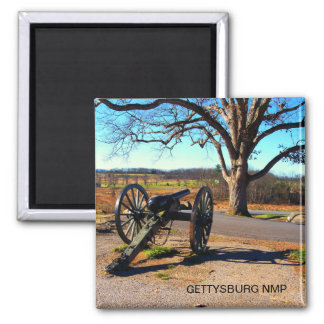 CANNON AND WITNESS TREE AT DEVILS DEN 2 INCH SQUARE MAGNET