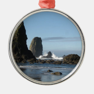 Cannon Beach and Haystack Rock wrapping paper Metal Ornament