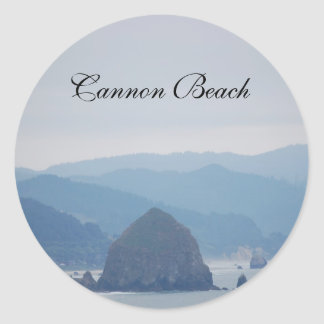 Cannon Beach Haystack in the mist Classic Round Sticker