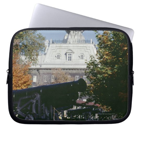 Cannon by historical building, Quebec, Canada Laptop Sleeve