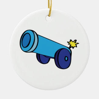 Cannon Double-Sided Ceramic Round Christmas Ornament