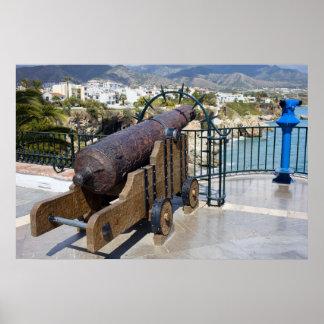 Cannon on Balcon de Europa in Nerja Poster