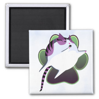 Cannonball Kitty 2 Inch Square Magnet
