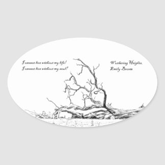 Cannot Live Without My Soul Wuthering Heights Oval Sticker
