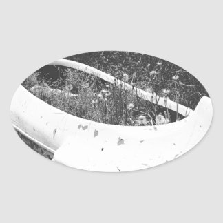 Canoa abandonada colcomanias óval personalizadas