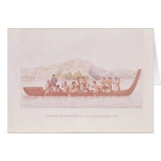 Canoa de cobertizo pilotada por los naturales de N Felicitación