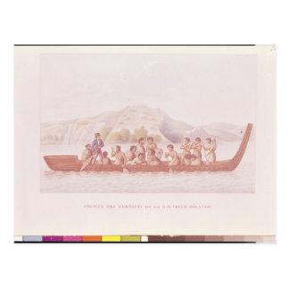 Canoa de cobertizo pilotada por los naturales de N Tarjeta Postal