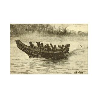 canoa de la guerra impresiones en lona