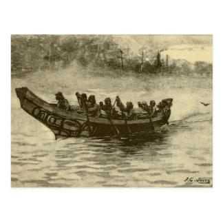 canoa de la guerra tarjetas postales
