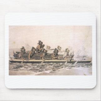 Canoa de las islas de bocadillo. Hawaii. c. 1778 Tapete De Ratones