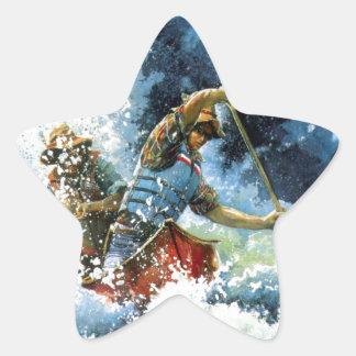 Canoa del agua blanca pegatina en forma de estrella
