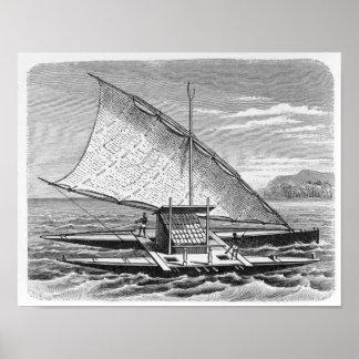 Canoa doble del Fijian de la historia de Impresiones
