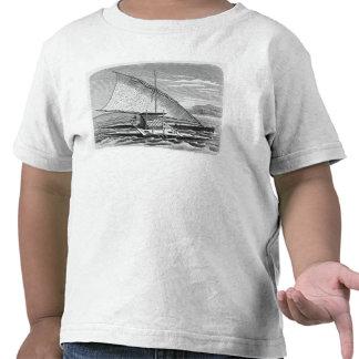 Canoa doble del Fijian de la historia de Camiseta
