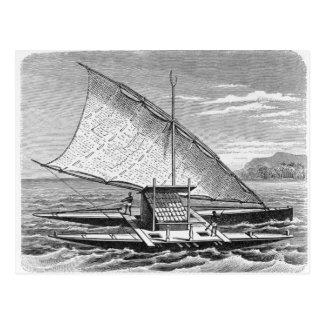 Canoa doble del Fijian de la historia de Tarjetas Postales