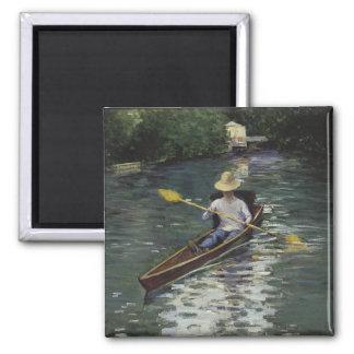 Canoa en el río de Yerres - Gustave Caillebotte Imán Cuadrado