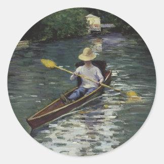Canoa en el río de Yerres - Gustave Caillebotte Etiqueta Redonda