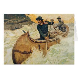 Canoa en los Rapids Felicitacion