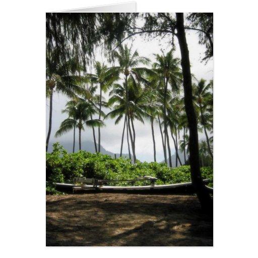 Canoa en palmas tarjeta pequeña