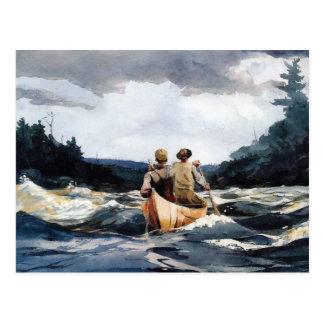 Canoa en Rapids de Winslow Homer Postales