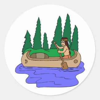 Canoa india de las paletas pegatina redonda