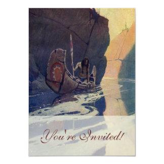 Canoa india del vintage que se bate con el símbolo invitación 11,4 x 15,8 cm