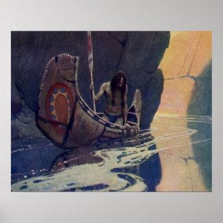 Canoa india del vintage que se bate con el símbolo impresiones