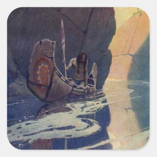 Canoa india del vintage que se bate con el símbolo pegatina cuadrada