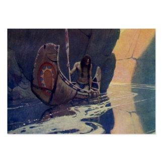Canoa india del vintage que se bate con el símbolo tarjetas de visita