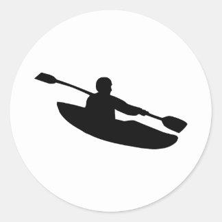 Canoa - kajak pegatina redonda