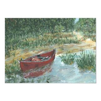 Canoa roja invitación 12,7 x 17,8 cm