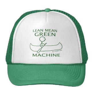 Canoa verde mala magra de la máquina gorros