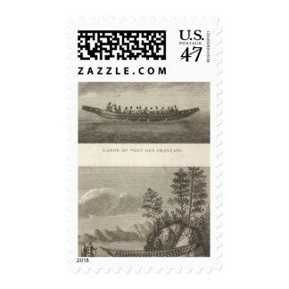 Canoa y marco de una canoa sellos