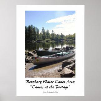 Canoas en el Portage-BWCA Póster