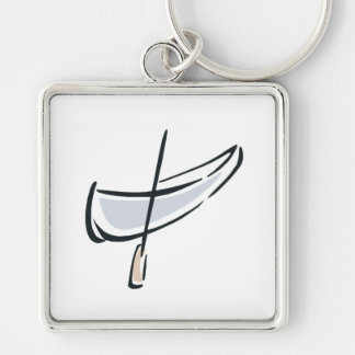 Canoe 3 Silver-Colored square keychain