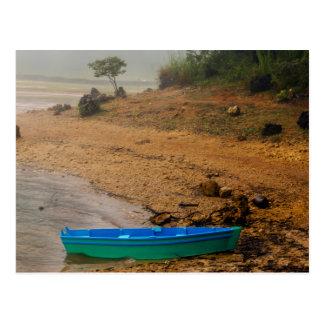 Canoe and Foggy Lakeshore Postcard