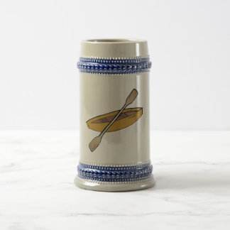 canoe and paddle beer stein