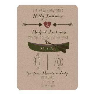 "Canoe + Arrows Rustic Wedding Invitation 5"" X 7"" Invitation Card"