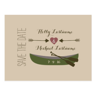 Canoe + Arrows With Heart Rustic Save The Date Postcard