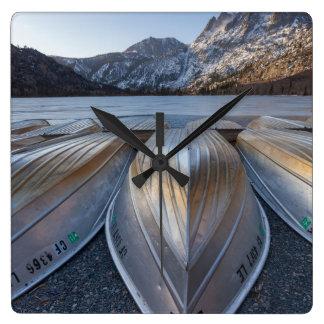 Canoe At The Lake Square Wall Clock