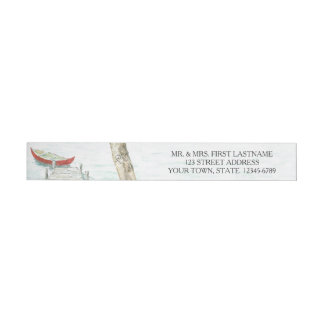 Canoe at the Lake Watercolor Wrap Around Address Label