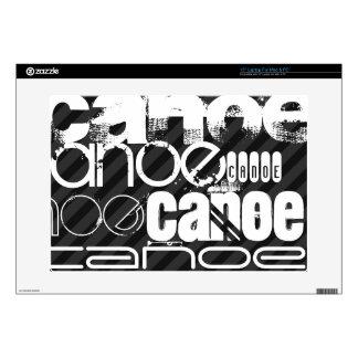 "Canoe; Black & Dark Gray Stripes 15"" Laptop Decal"