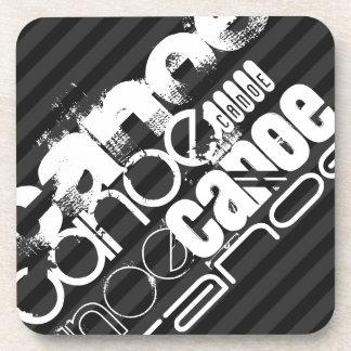 Canoe; Black & Dark Gray Stripes Drink Coaster