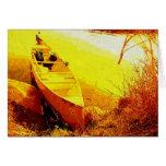canoe, boat, impressionist, yellow, brushstrokes,